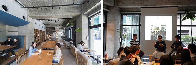 左: 管理栄養士のメニューを提供するRelax食堂で学生・地域と交流/右:寮内で学びのワークショップも