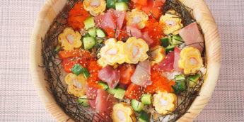 お花の卵焼きが可愛い!海鮮ばらちらしのレシピ-ひな祭りや初節句におすすめ
