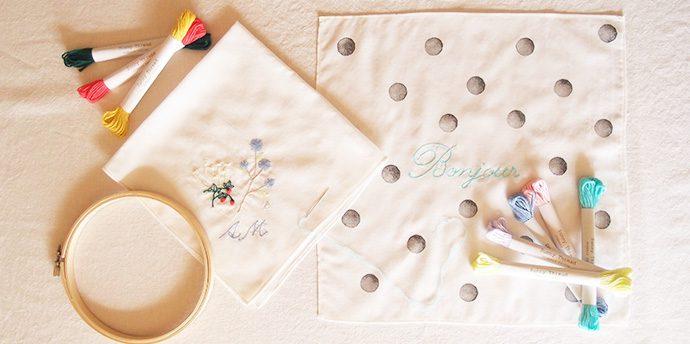 秋の刺繍ワークショップ。親子でチクチク、オリジナルハンカチを作りましょう。