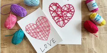 バレンタインデーやお誕生日に!毛糸の刺繍でほっこり可愛いカード作り【親子で簡単工作】
