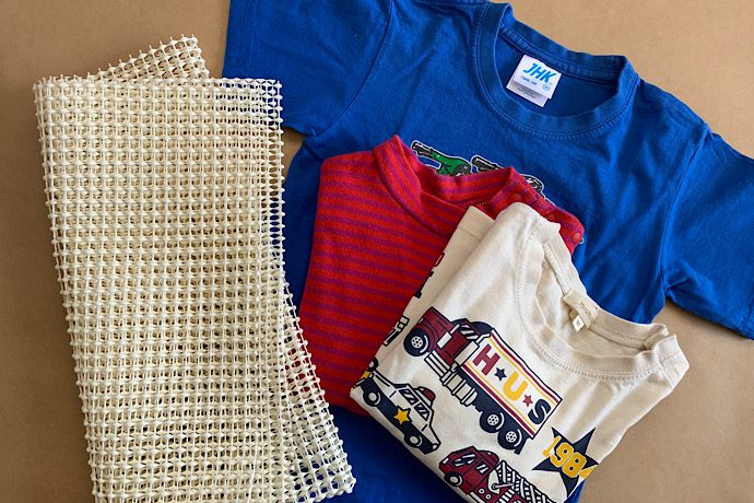 親子工作 Tシャツリメイクのラグマット作り
