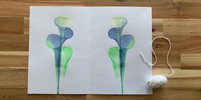 絵の具と紐で美しいアート作品を完成させよう【簡単工作】